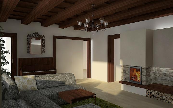 Tramovy strop, bungalow - Vizual obyvacky - pohlad smerom do kuchyne (za zatahovcimi dverami)