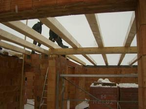 """3.12.2010 - tramy alias """"stropnice"""". Vyhoda dreveneho stropu - netreba betonovat, takze sa da robit aj v mraze."""