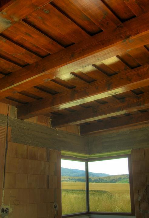 Tramovy strop, bungalow - Este jedna foto z kuchyne (aj s vyhladom z okna)