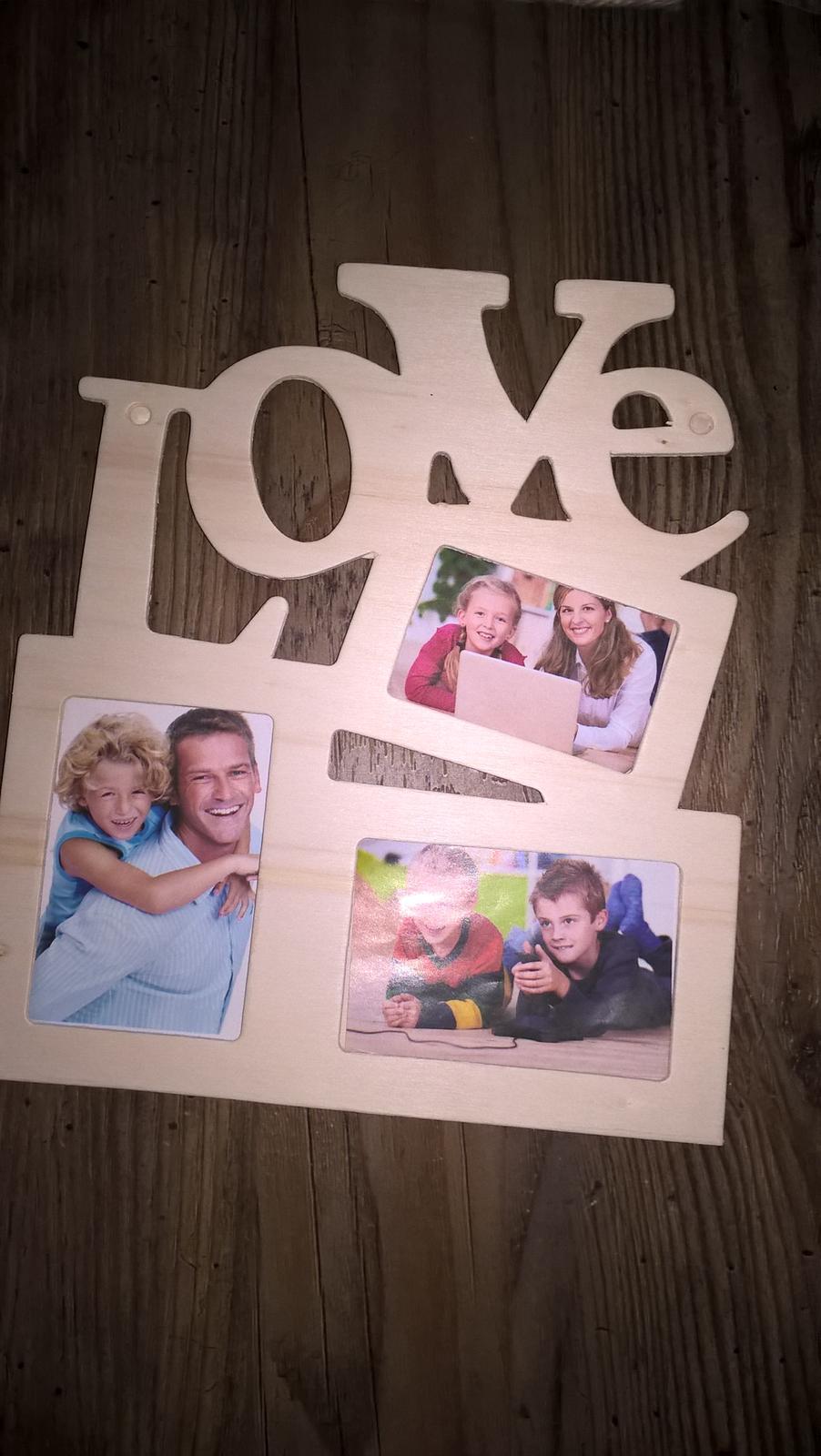 Dreveny fotoramik love na 3 fotky - Obrázok č. 4