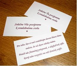 Pozvánky a malé naznačenie, čo by nás potešilo ako svadobný dar :)