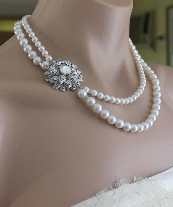 Svatební šperky - Cena: 1960 Kč, perly a krystaly Swarovski