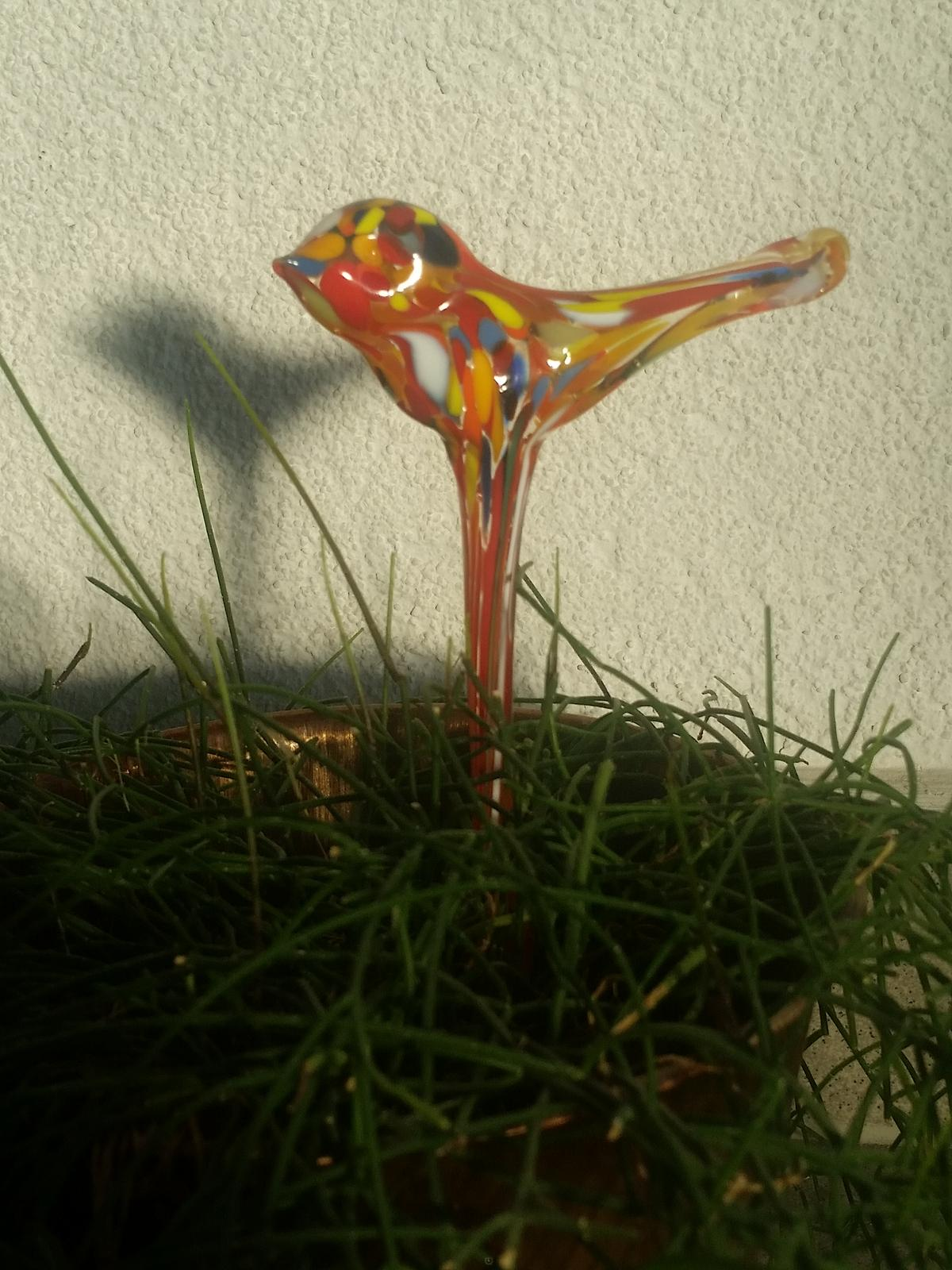 skleněný zápich do květináče ptáček - Obrázek č. 1