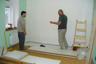 příprava stavby vestavěné skříně