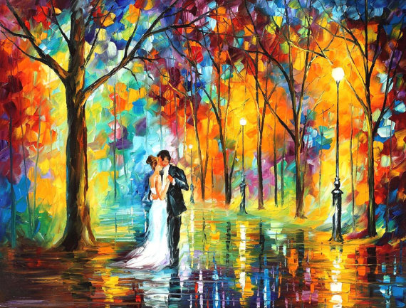 Môj obľúbený Leonid Afremov a jeho nádherná olejomaľba Rainy Wedding :-) ♥ - Obrázok č. 1