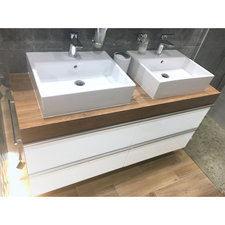 Kúpelňa PREDTÝM POTOM - zásuvková skrinka s 2 umývadlami