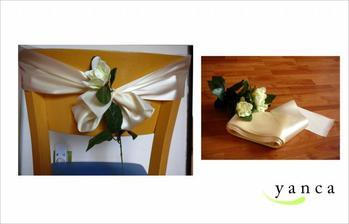 Stuha a růže na židle na obřad, ukázka :-)