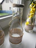 vázy s jutou - láhev od kečupu,