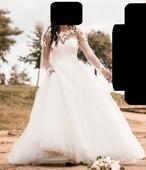 Tylové svadobné šaty s dlhým rukávom, 36