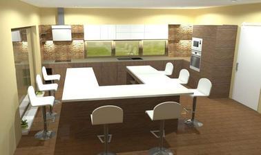 3D vizualizacia kuchyne s rozmermi hotova, pomaly uz zaciname riesit to krajsie, vnutorne dotvorenie oazy pokoja ;) tesim ...