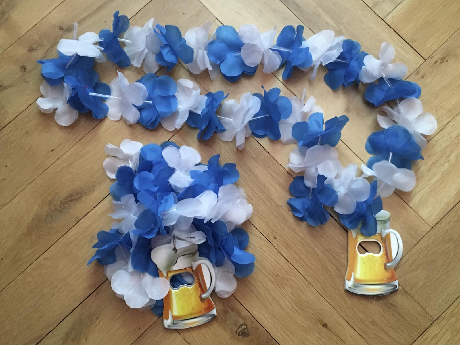 2 Modro-bílé havajské věnce s otvírákem na pivo - Obrázek č. 1