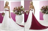 Svatební šaty vyšívané s bordó stuhou a vlečkou, 40