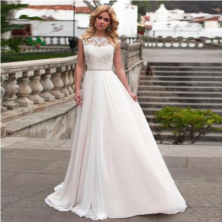 Dlhé svadobné šaty do veľ. 56 - Obrázok č. 1