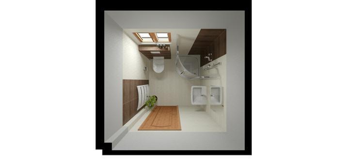 Vizualizace koupelen - obklad Madera, dveře i okna budou bílé