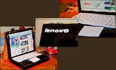 Notebook na objednávku - uvnitř piškot a šlehačka s jahodama a čokoškou