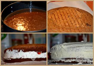 čokoládový korpus, šlehačka s jahodama a potřeno krémem z bílé čokolády