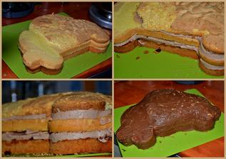 piškot + lehký čokokrém a potřeno nutelou, čeká se na potahovku
