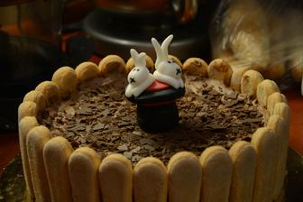 Charlotta s lehkým čokoládovým krémem a králíky z klobouku