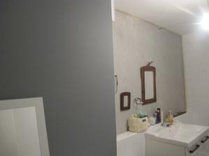 musim nafotit jeste celni pohled koupelny, ale seda je tu videt. to co je pod zrcadlem je stuk, ktery budu jeste lakovat a lestit. stejny povrch je i na shozu na pradlo.