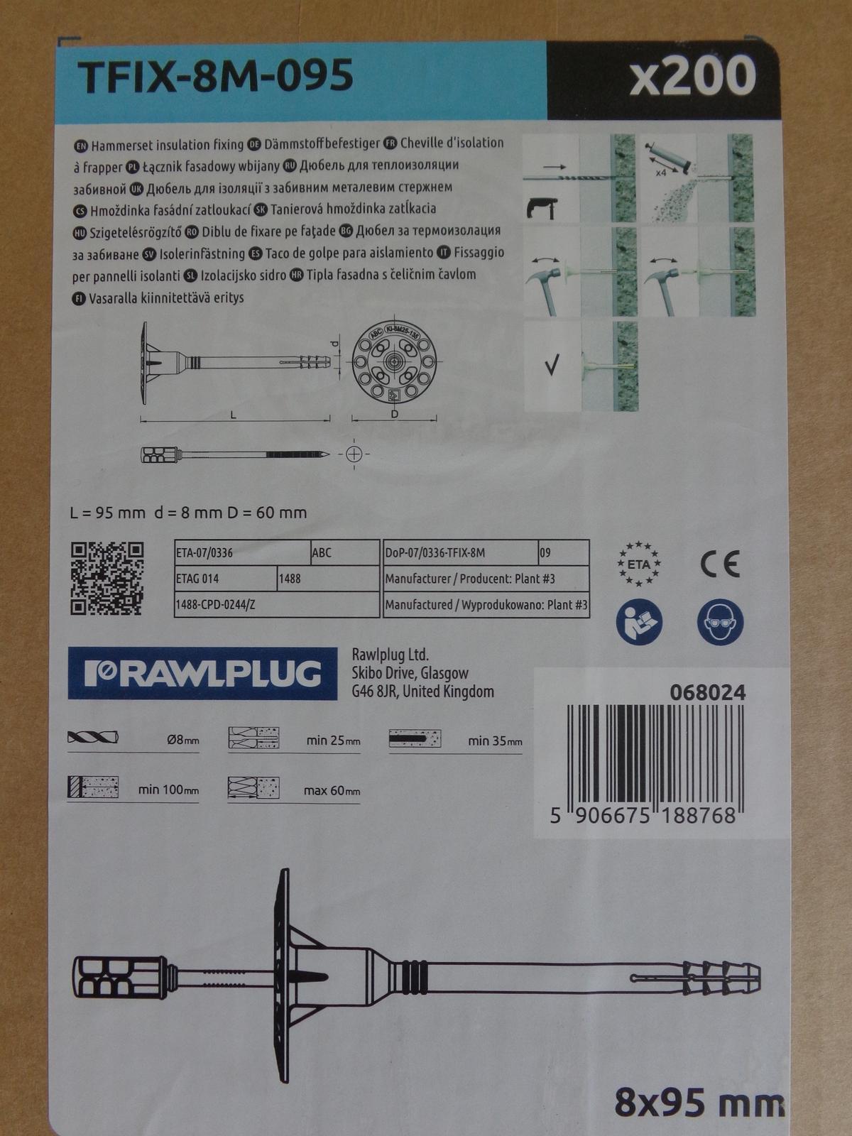 Tanierová hmoždinka zatĺkacia TFIX-8M-095 - Obrázok č. 2