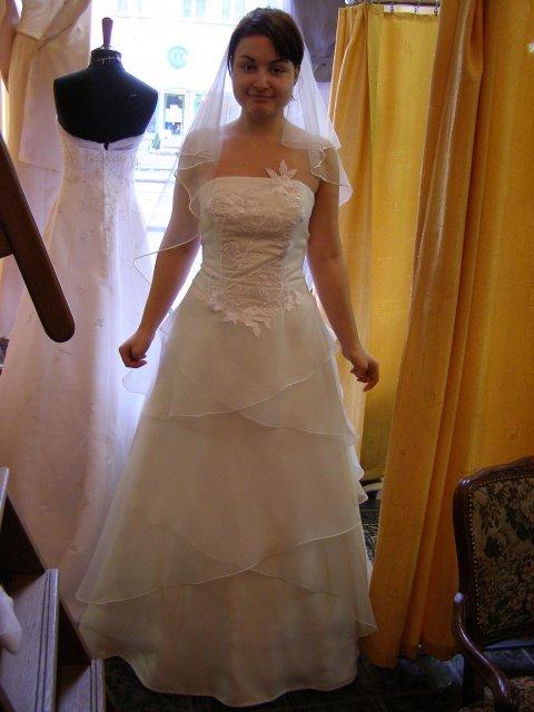 Včelička a čmeláček 9. 6. 2006 ve 12 hod. - Půjčené.Tak tohle jsou ony, moje svatební šatičky!!! Co říkáté? Jen se musí zabrat vršek, zkrátit a dát větší spodnička...