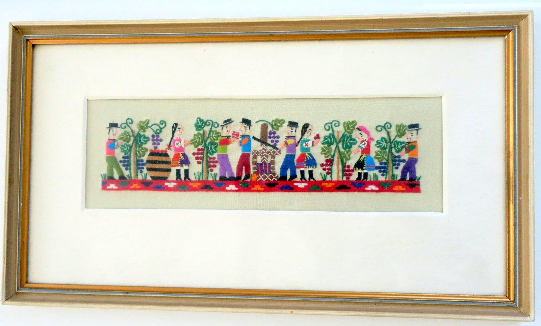 Vyšívaný obraz vinobranie - Obrázok č. 1