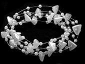 Zlomky a perličky na silikóne - biele,