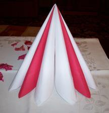 První návrh na skládání ubrousků na svatební tabuli.