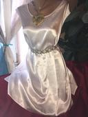 šaty, halenka, tunika, bílá barva, satén XXL,
