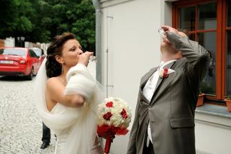 Přípitek - manžel měl jen vodu...