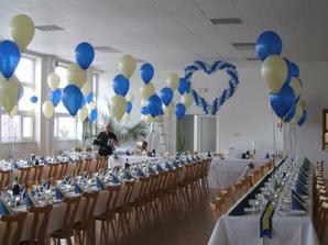 Páči sa mi modro-biela kombinácia na výzdobu sály a určite budú balóny