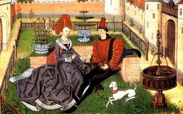 Plesata zena s vysokym klobukom a muz s gigantickymi ramennymi vypchavkami