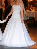 Pohodlné, biele svadobné šaty, 36