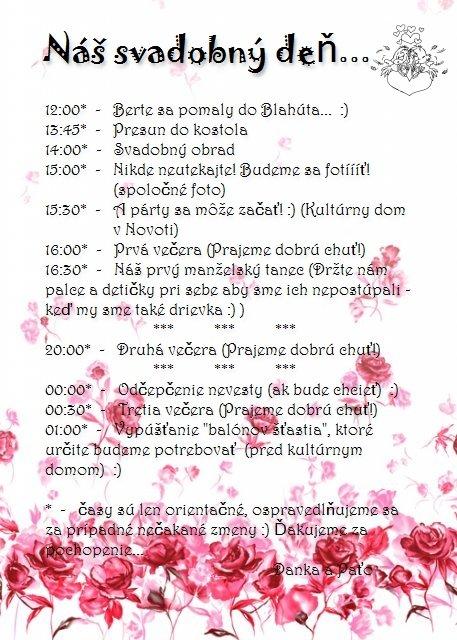 A party sa moze zacat :) - A tento program dostali moji hostia s pozvankou...