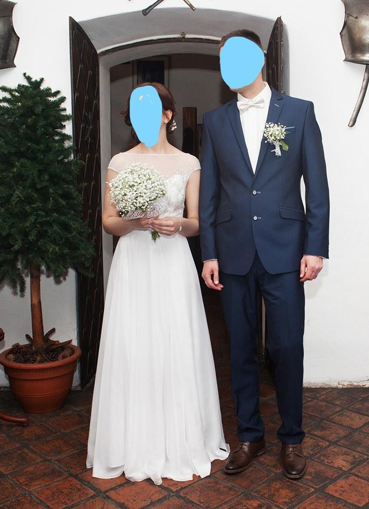 Pánský oblek modrý, vel. 54 - Obrázok č. 1