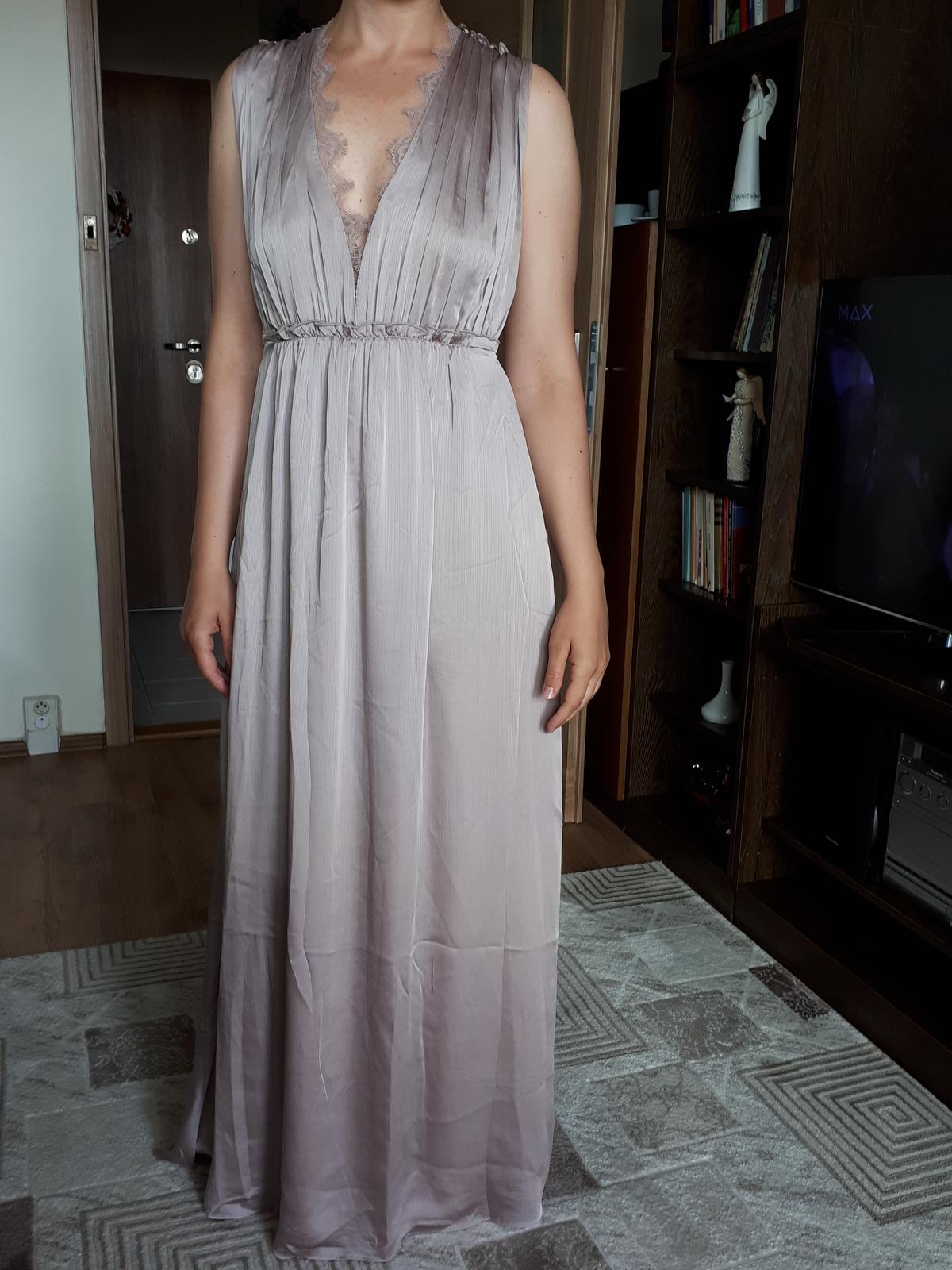 Dlouhé saténové šaty, vel. 38 - Obrázok č. 1
