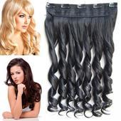 Clip in vlasový pás - lokne 55 cm,