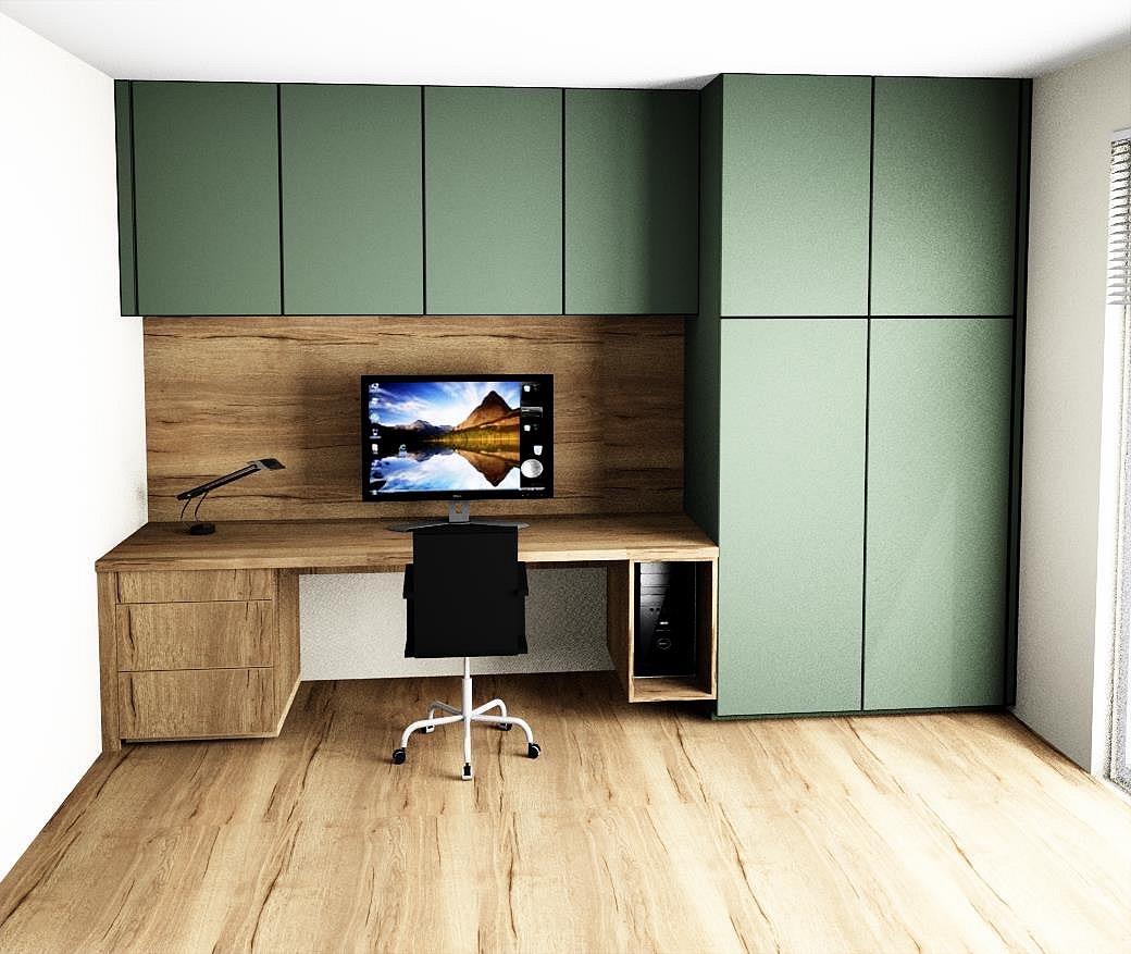 Pracovna / univerzální pokoj - První návrh. Kombinace olivově zelené a dubu.