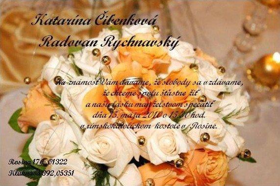 Katarína{{_AND_}}Radovan Rychnavský - naše svadobné oznámenie,vlastná výroba