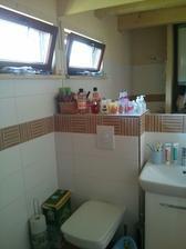 Toaleta s umývadlom a obrovským zrkadlom