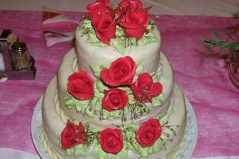 náš dortík...měla jsem z něj jednu lžičku... :o(