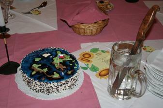 Náš dort. Bohužel se nepovedl přesně dle našeho přání, ale byl dobrej a celej se snědl, takže je to jedno (mimochodem, poznali jste mapu světa? :o))