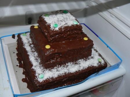 ♥ ORANGE ♥ - Moja prvá torta, ktorú som upiekla a rovno na svoju svadbu :-) Otrasné foto - len v chladničke odfotené - torta mala vrchné a spodné poschodie kokosové a prostredné orechové (tj. cesto aj plnka kokosové, resp. orechové)