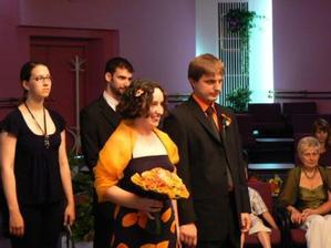 Počas obradu - svedkovia: Maruška a Tibi