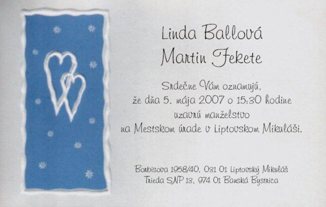 Maťo a Linda 5.5 2007 - naše oznámenie