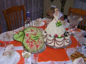 svatební dort a meloun