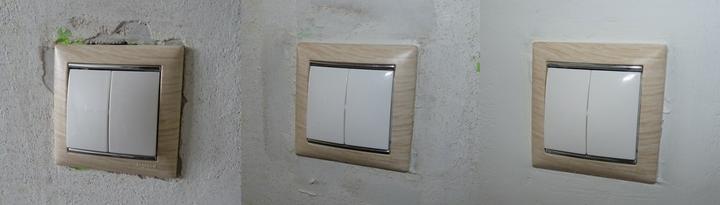 Vypínač také vyměněný, začištěný a zamalovaný. (Okolí bude nakonec zelené.)