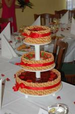 Zhruba takto bude vypadat náš dort z Ovocného světozoru. Bílá mašle a bílé trubičky mi přijdou moc fádní...