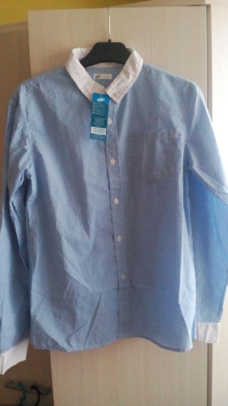 Nenosena bledomodro-biels košeľa s poštovným - Obrázok č. 1