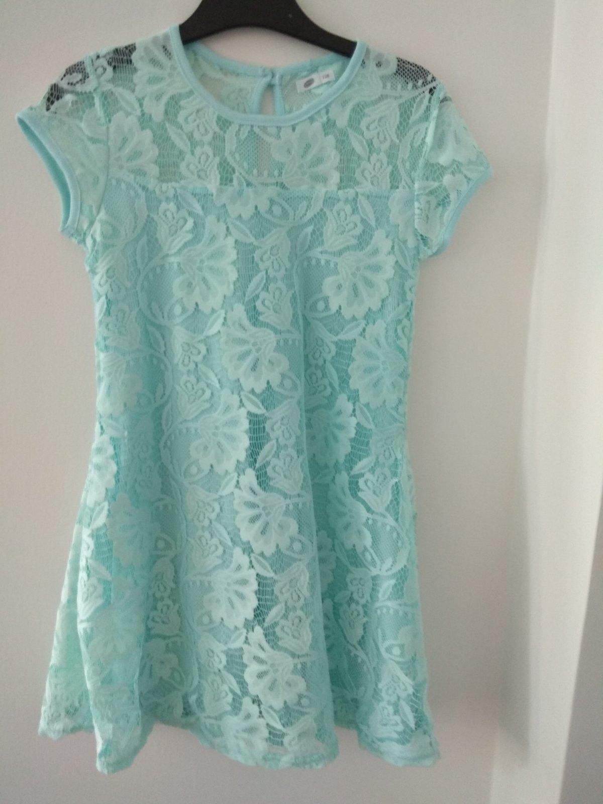 Tyrkysové šaty s krajkou - Obrázok č. 1